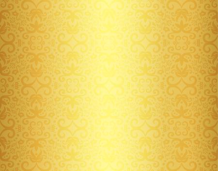 Vintage golden background with damask ornament pattern