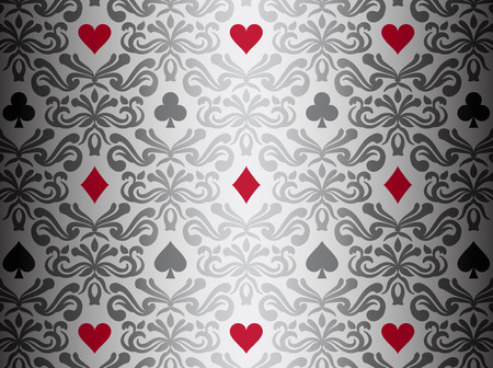 Silver background with poker symbols surrounded by floral ornament pattern 向量圖像