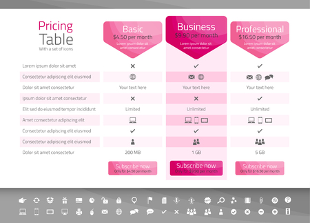 Light pricing table in pink color with 3 options. Icon set included Illusztráció