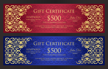 Luxury red and blue gift certificate with vintage golden ornament pattern 向量圖像
