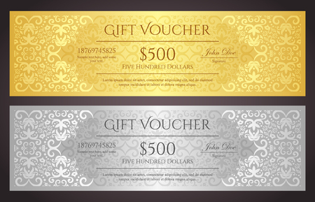 Luxury golden and silver gift voucher with vintage ornament pattern