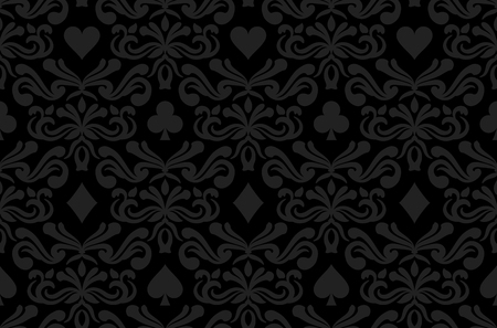 Seamless black background with poker symbols surrounded by floral ornament pattern