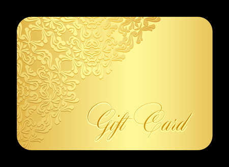 Luxury golden gift card with lace decoration in corner 向量圖像