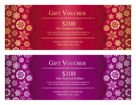 Red and purple Christmas gift card with gold and silver snowflakes Vettoriali