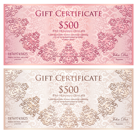 Luxury gold and black gift certificate with rounded lace decoration and vintage background