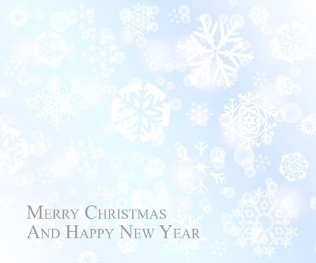 Tender Christmas postcard with white snowflakes on baby blue background 向量圖像