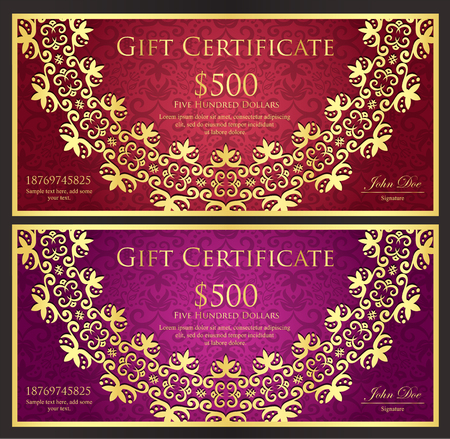 Luxury red and purple gift certificate with rounded golden lace decoration and vintage background Illusztráció