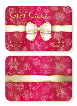 Luxury red Christmas gift card with white snowflakes in background and cream ribbon as decoration Illusztráció