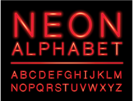 Red neon alphabet with complete letters set with LED effect 向量圖像