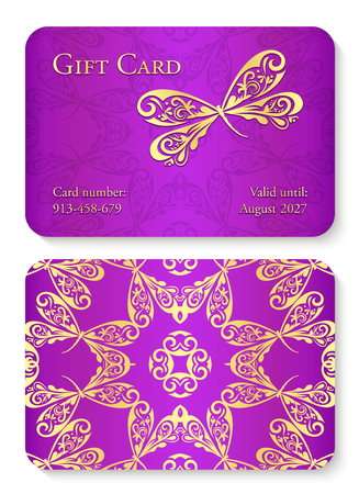 Luxury violet gift card with dragonfly ornament. Front side with golden embossed relief, back side with gold circle ornament decoration Illusztráció
