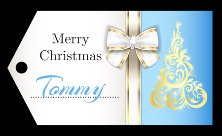 Luxury light blue Christmas name tag with golden ornament Christmas tree and white ribbon