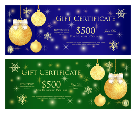 Royal blue and green gift certificate with golden Christmas balls and sparkling background