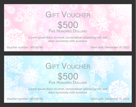 Tender pink and blue Christmas gift voucher with white snowflakes in background