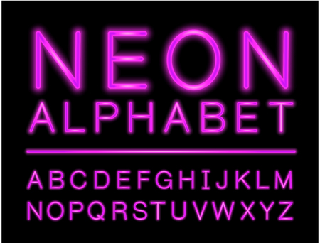 Violet neon alphabet with complete letters set with LED effect