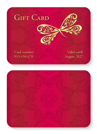 Luxury red gift card with dragonfly ornament. Front side with golden embossed relief, back side with circle ornament decoration
