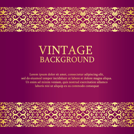 Vintage purple background with gold lace as top and down decoration 向量圖像