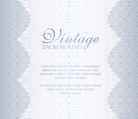 Vintage silver background with damask ornament pattern 向量圖像