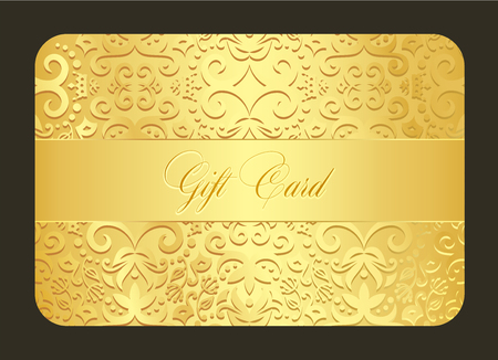 Luxury golden gift card with vintage ornament decoration