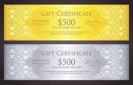 Luxury golden and silver gift certificate with vintage ornament pattern