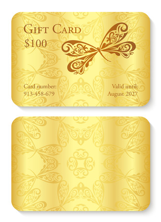 Luxury golden gift card with dragonfly ornament. Front side with text, back side with circle ornament decoration Illusztráció