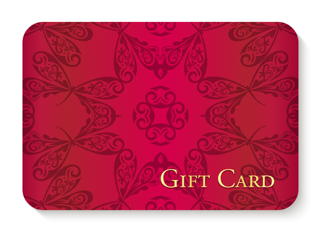 Luxury red gift card with circle dragonfly ornament as background decoration Illustration