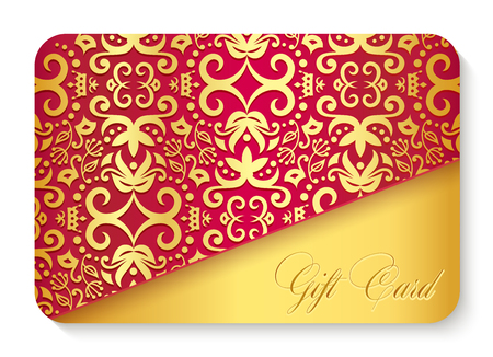 Luxury red gift card with golden vintage ornament decoration 向量圖像
