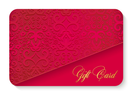 Luxury red gift card with vintage ornament decoration