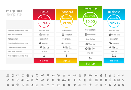 Pricing table with 4 plans and one recommended. Blue, red green and yellow header.
