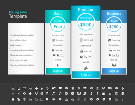 Pricing table with 3 plans and one recommended. Blue header color scheme and dark background.