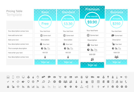 Pricing table with 4 plans with turquoise header. Illusztráció