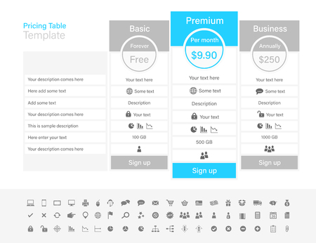 Pricing table with 3 plans and one recommended. Light grey and light blue color scheme.