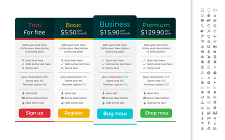 Light pricing table with dark header and one recommended option.