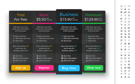 Dark pricing table with 4 plans and one recommended option.