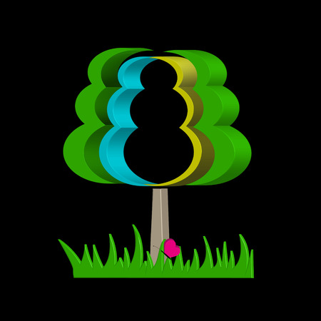 elongated: Graphical abstract tree on a black background.Volume, elongated