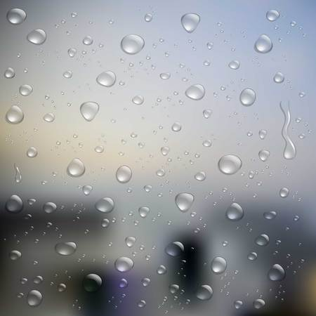 condensation on glass: Realistic water droplets on glass Illustration