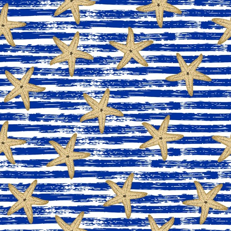 Seamless pattern. Blue lines, starfish Marine theme