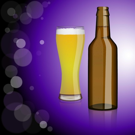 intoxicate: Bottle of beer, glass of beer.Entertainment, drinks. Design for bars