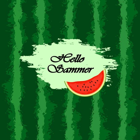 freshening: Template for text. Watermelon background. Green band