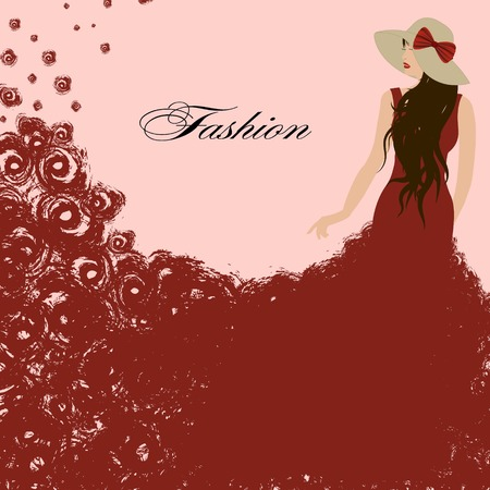 red dress: woman in a red dress. Red roses.graceful triumph Illustration