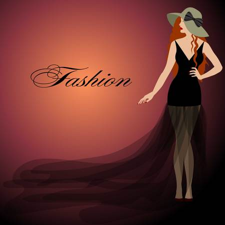hair bow: girl with red hair, black dress, red lips. Hat with bow. Fashion style