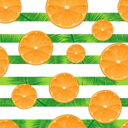 palm branch: Orange striped background. Seamless illustration. Summer mood. Palm branch