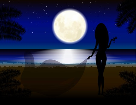 beach sunset: Moon, girl with glass, beach, vacation Relaxation Night landscape Illustration