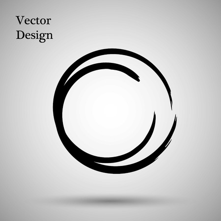 enso: Hand drawn circle shape. label, logo design element. Brush abstract wave. Black enso zen symbol. Vector illustration. Object