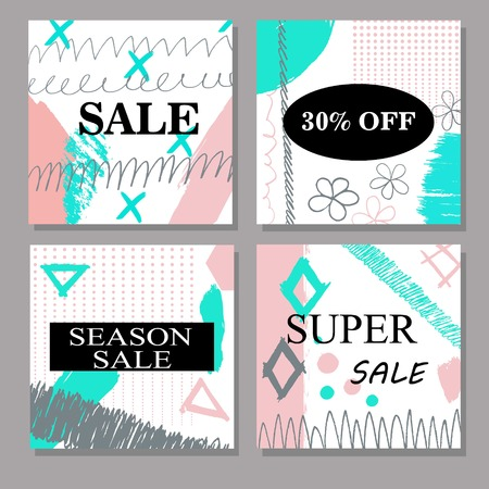 spring summer: Set of creative hand drawn Sale, discount headers, banners, cards, vouchers. Design for seasonal clearance. Cartoon Illustration