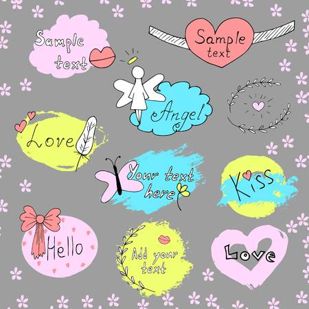 butterfly  angel: Vector set of labels. Hand drawn lettering. Doodle illustrations with frames,lips, angel, feather, kiss, butterfly ribbon flowers Handmadepainting Illustration