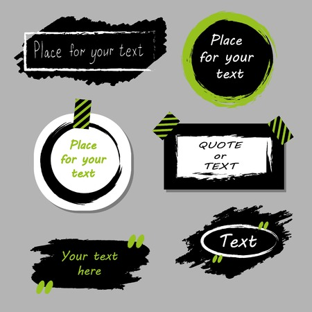 Vector quote boxes collection. Hand drawn frames, square, rectangle and round speech bubbles. Grunge brush strokes texture.Green Illustration