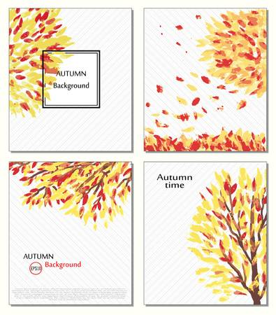 ard: Fall of the leaves. Hello autumn. Leaves are drawn. Backgrounds with hand drawn autumn leaves. Sketch, design elements. Vector. Ard, invitation, Autumn time