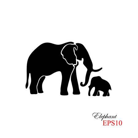 象と象の赤ちゃん。白の背景には、象の黒いシルエット  イラスト・ベクター素材