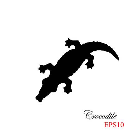 The black silhouette of a krocodile on a white background. Element for design and detail