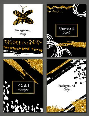 Brochure template design set with brush stroke Vector illustration. Grunge cards with golden paint, modern style poster or flyer. Brush strokes, gold tinsel.